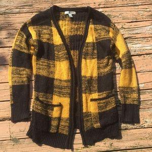 Black and yellow sweater cardigan
